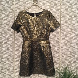 ASTR Gold metallic geometric party dress
